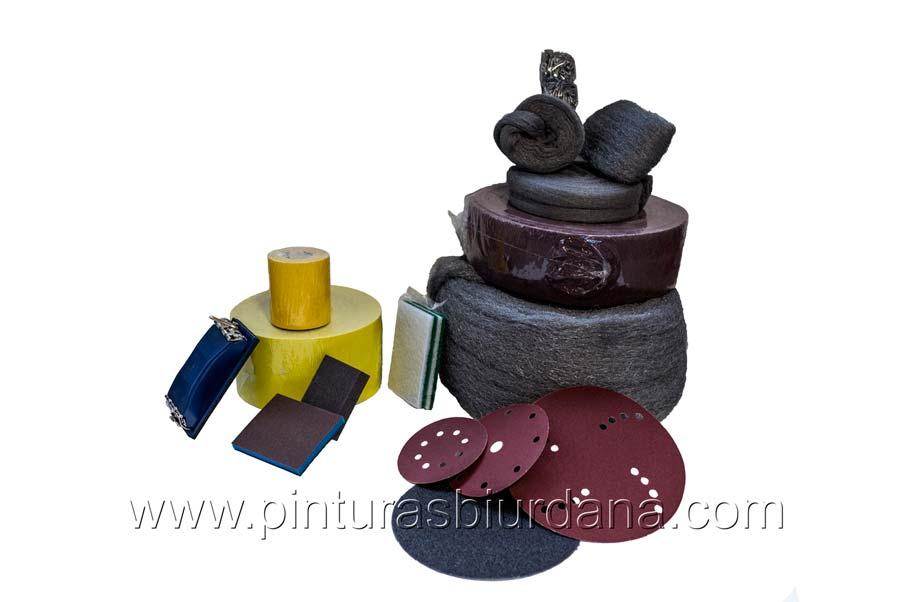 Productos para lijado y limpieza de superficies lana acero estropajo